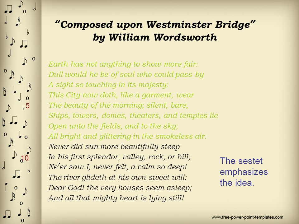 upon westminster bridge william wordsworth In  the daffodils and  upon westminster bridge the poet shows appreciation of 'write a comparison of 'composed upon westminster bridge' by william wordsworth.