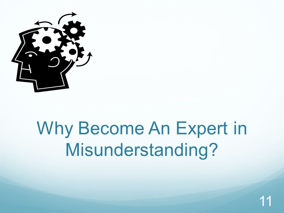 Why Become An Expert in Misunderstanding