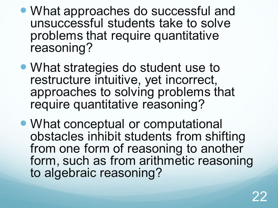 What approaches do successful and unsuccessful students take to solve problems that require quantitative reasoning