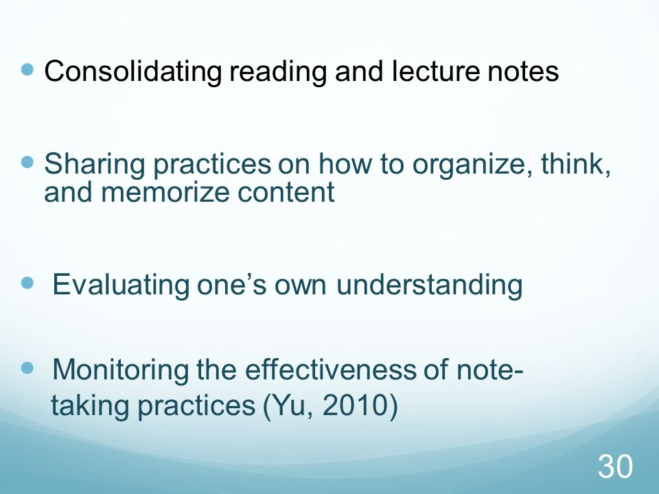 Consolidating reading and lecture notes