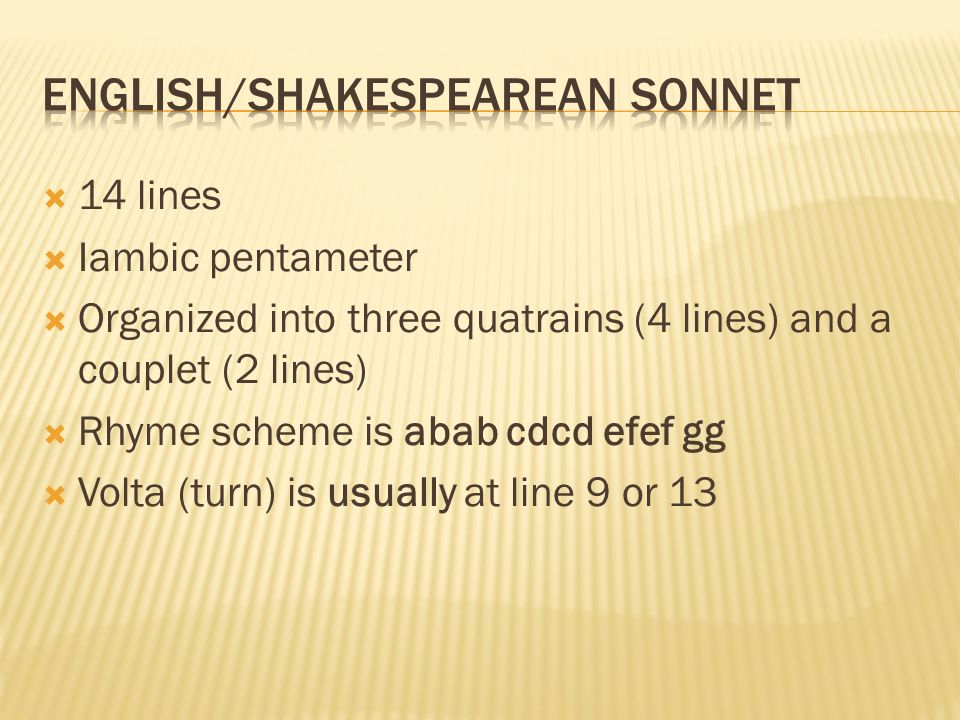English/Shakespearean Sonnet