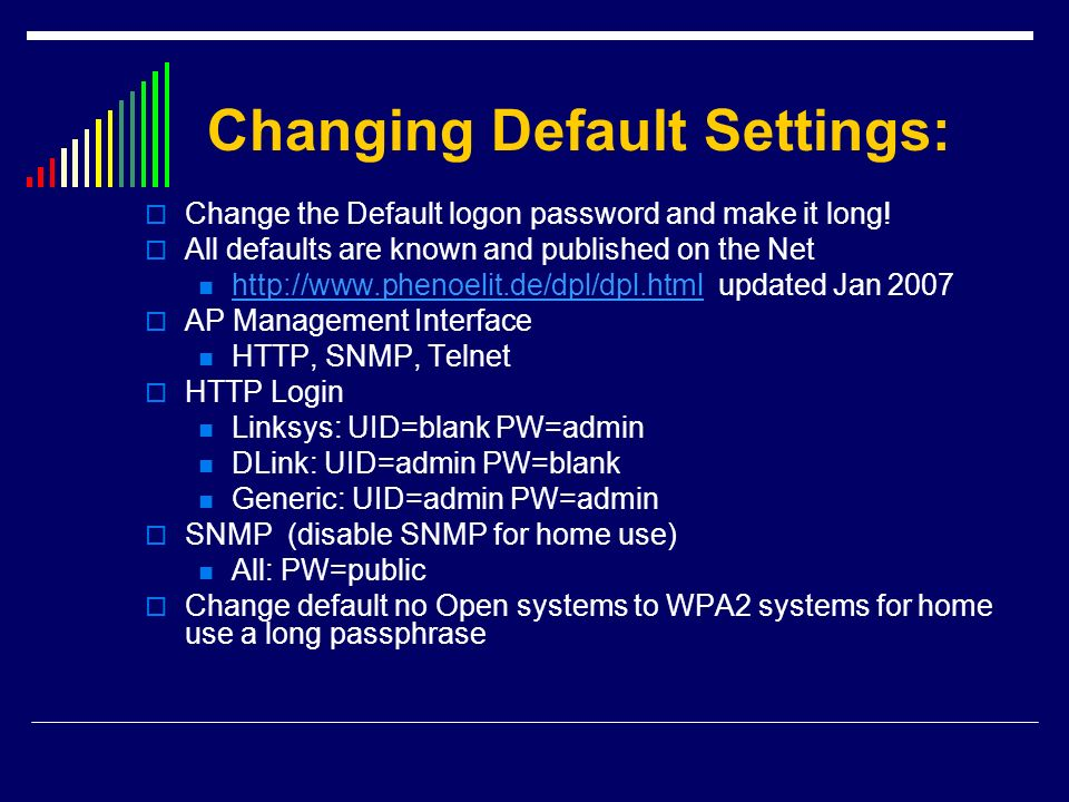 Changing Default Settings: