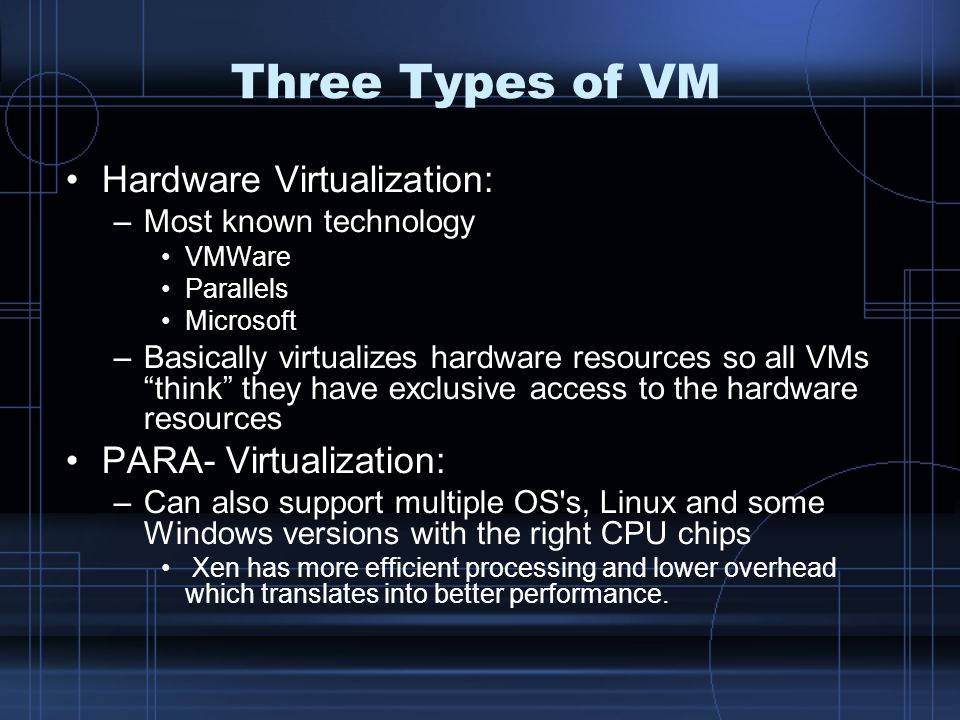 Three Types of VM Hardware Virtualization: PARA- Virtualization: