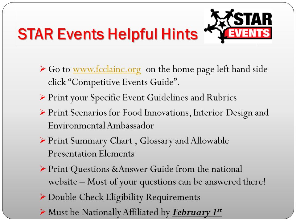 3 STAR Events Helpful Hints