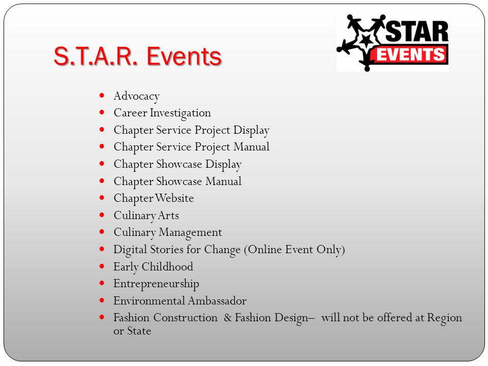 5 STAR Events Advocacy Career Investigation