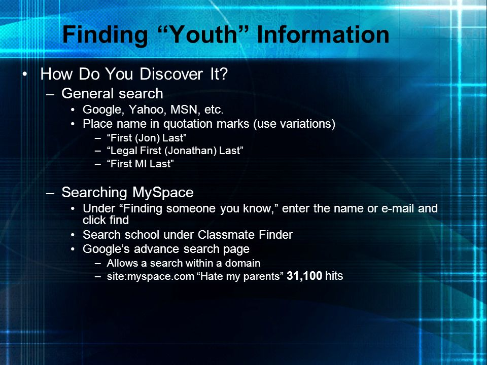 Finding Youth Information
