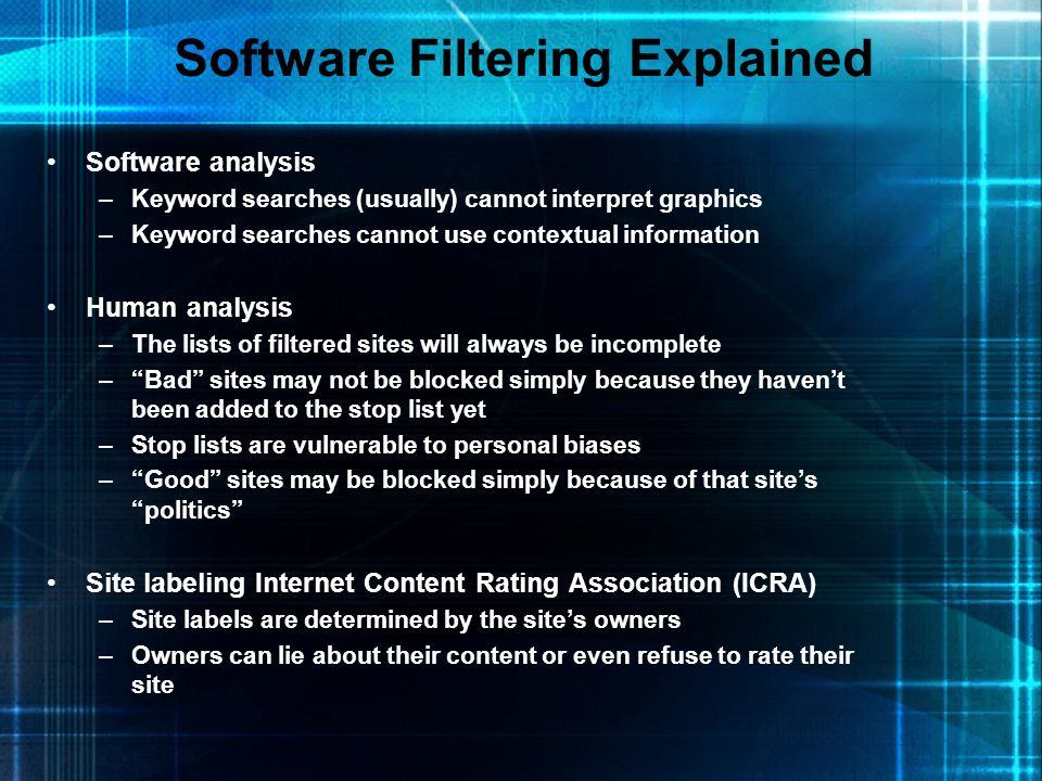 Software Filtering Explained