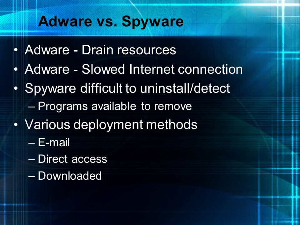Adware vs. Spyware Adware - Drain resources