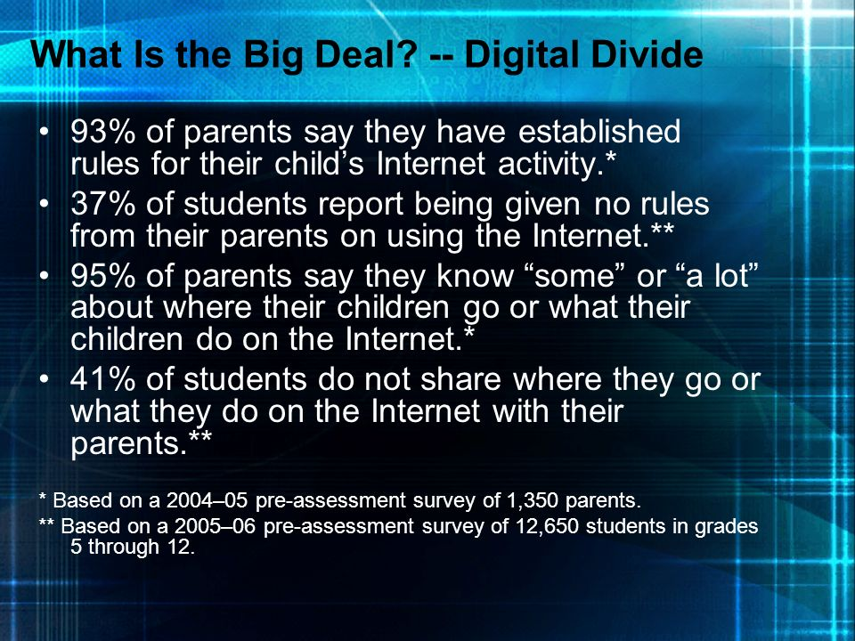 What Is the Big Deal -- Digital Divide