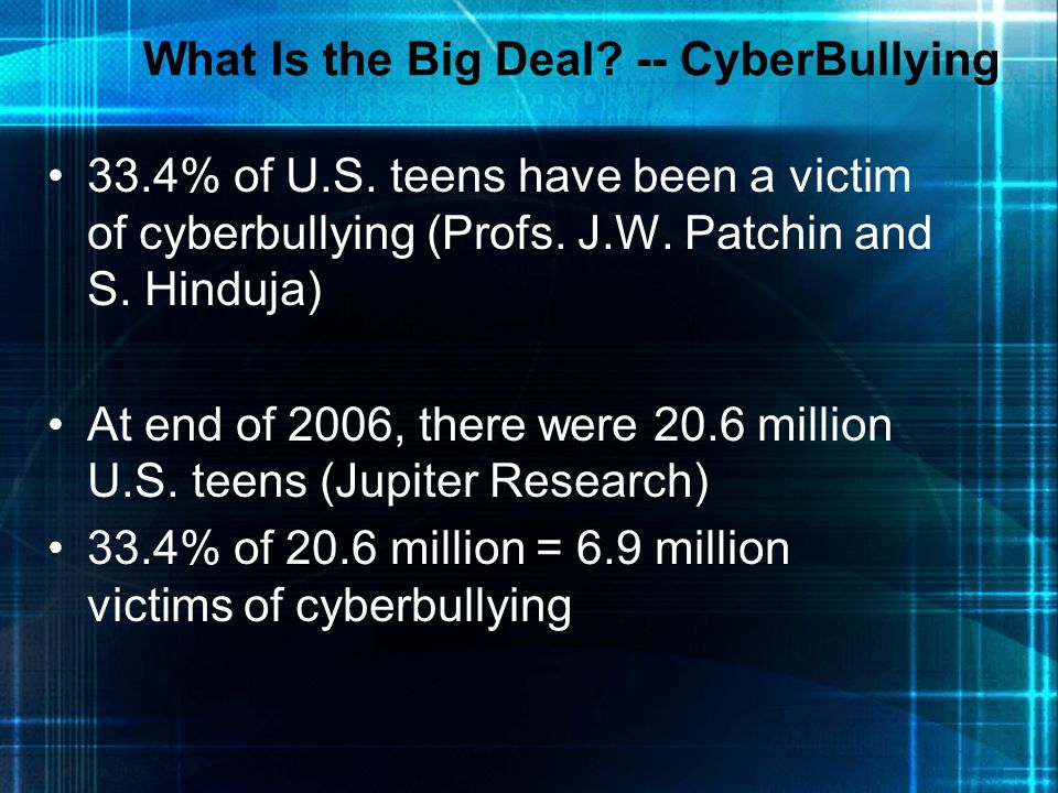 What Is the Big Deal -- CyberBullying