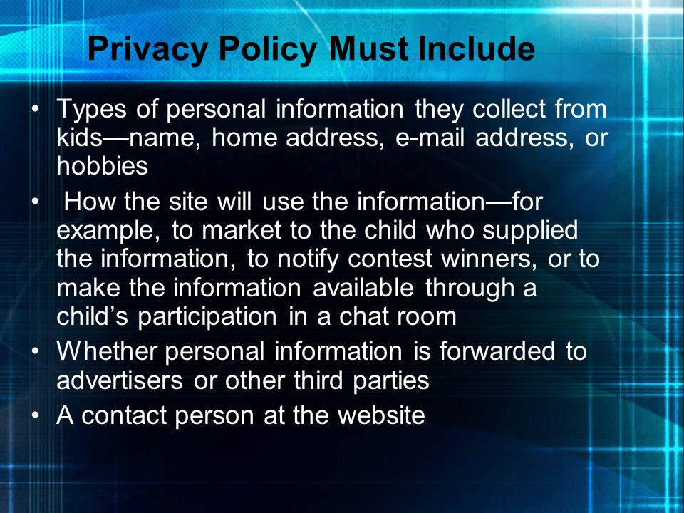 Privacy Policy Must Include