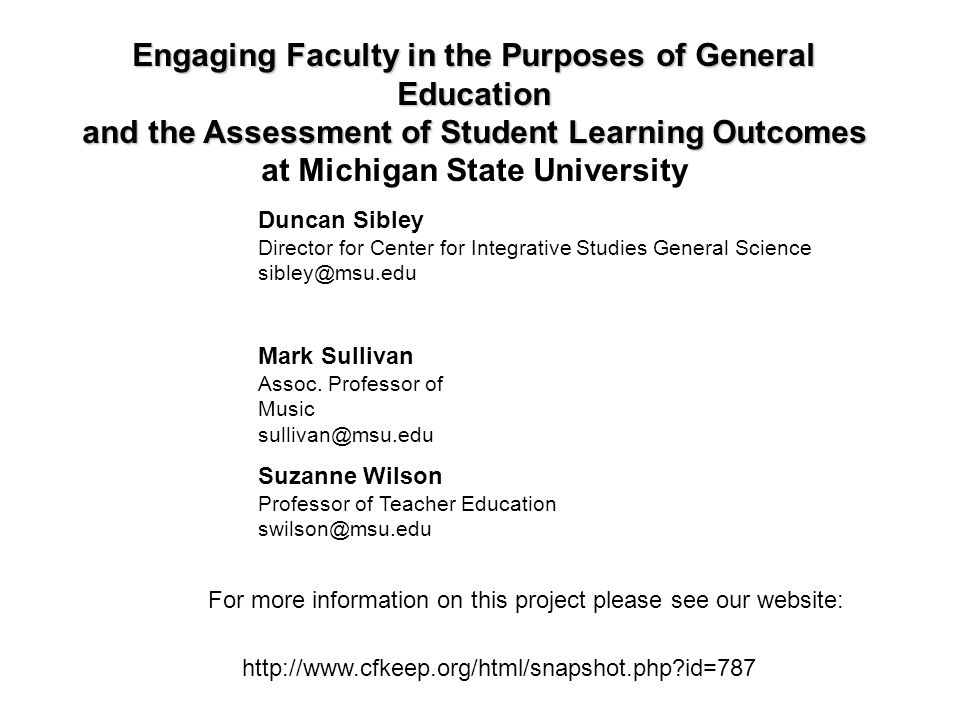 Engaging Faculty in the Purposes of General Education
