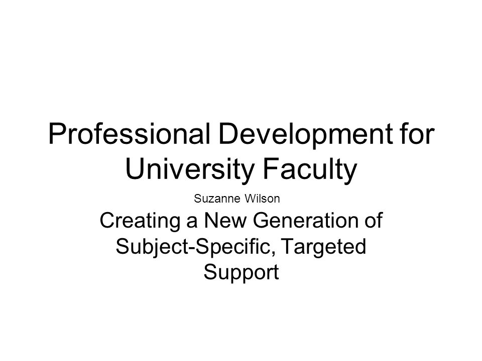 Professional Development for University Faculty