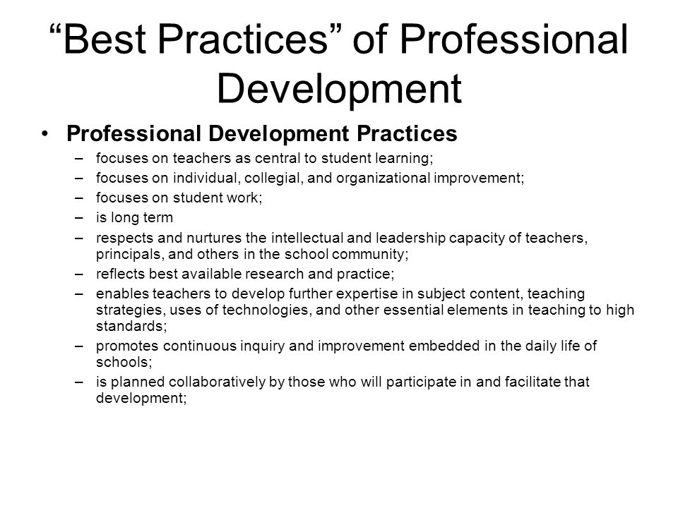Best Practices of Professional Development