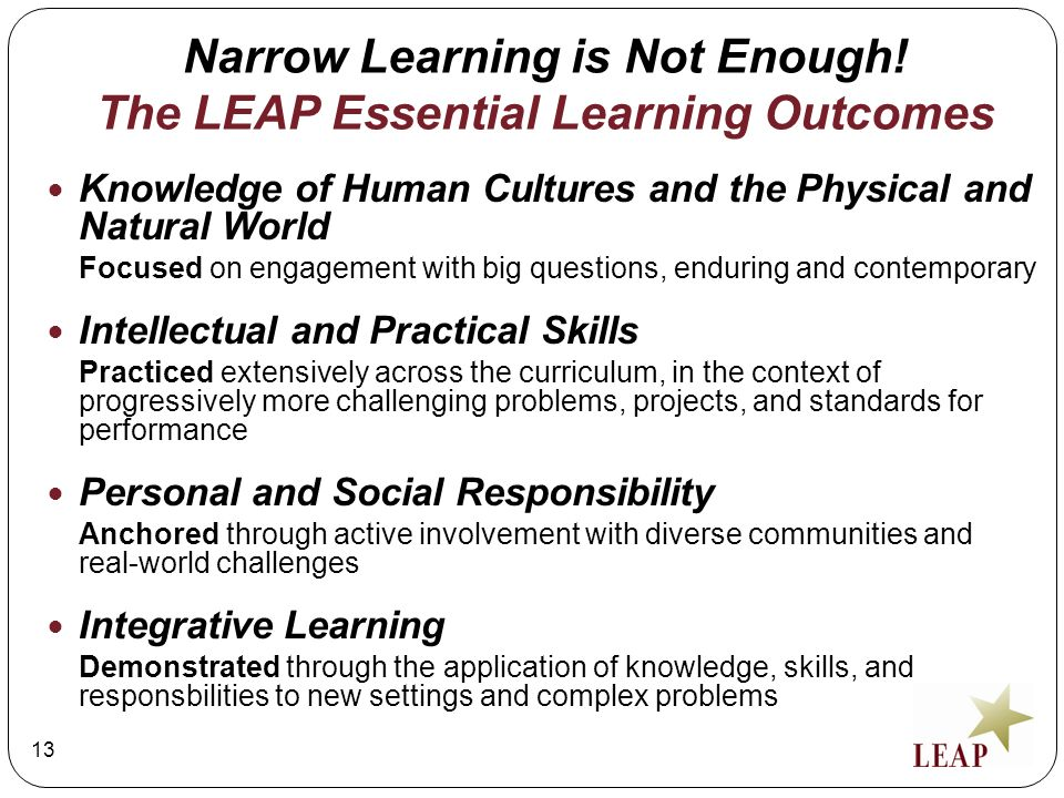 Narrow Learning is Not Enough! The LEAP Essential Learning Outcomes