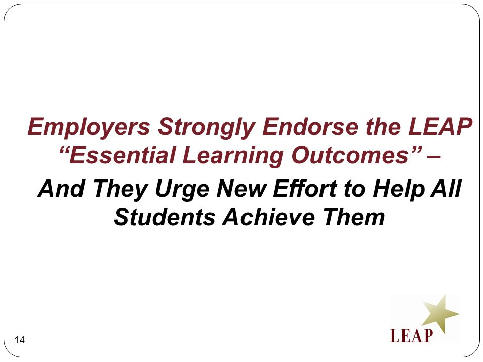 And They Urge New Effort to Help All Students Achieve Them