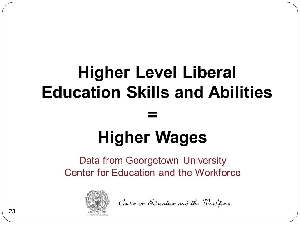 Higher Level Liberal Education Skills and Abilities = Higher Wages