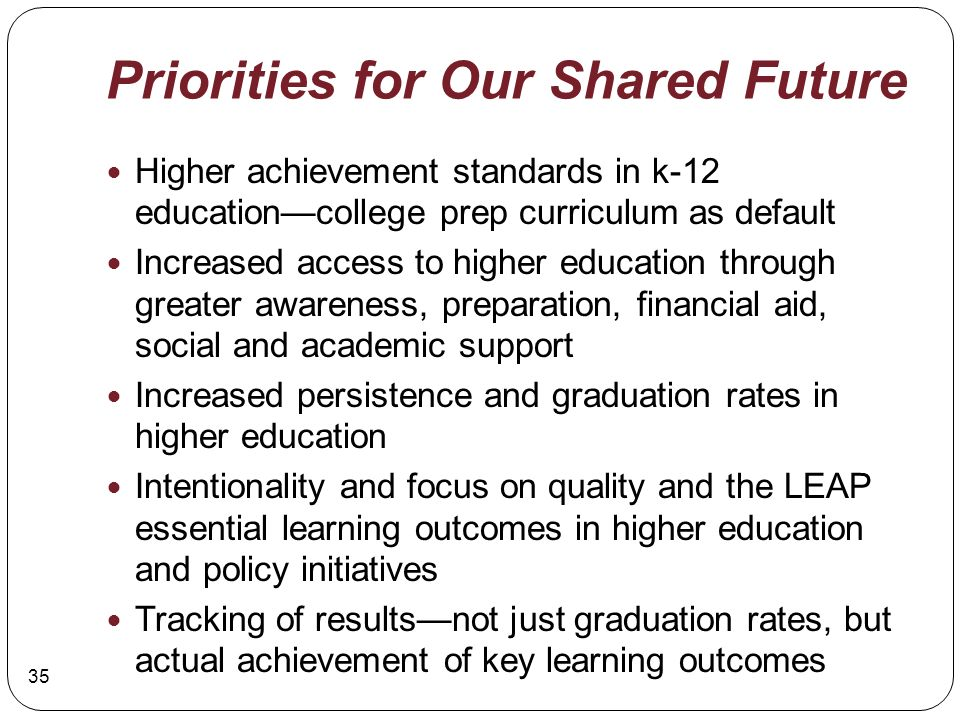 Priorities for Our Shared Future