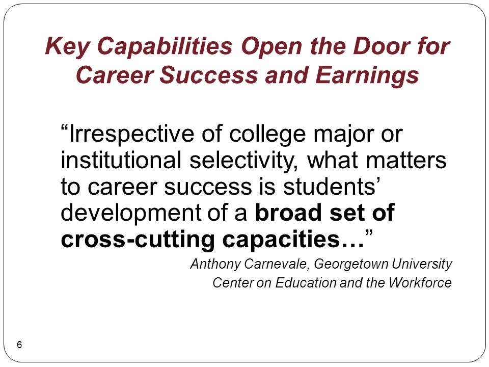 Key Capabilities Open the Door for Career Success and Earnings