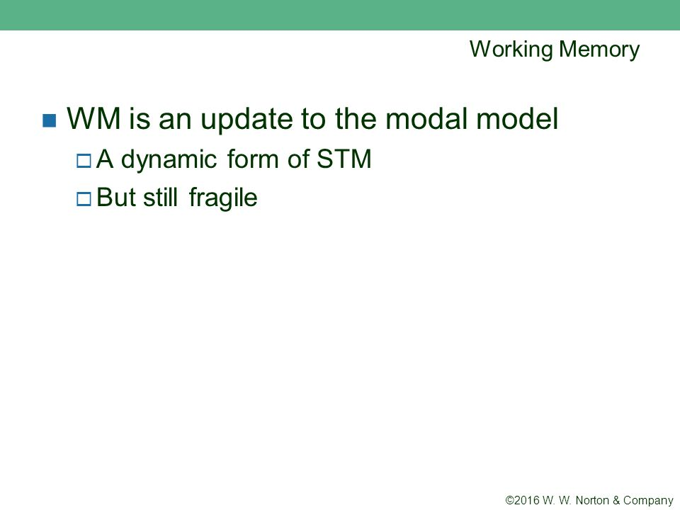 an introduction to the modal model of memory Baddeley and hitch's 'working memory model' aswin malhotra year 12 introduction an alternative to the multi-store model it provides a far more complex explanation of the short term memory (stm.