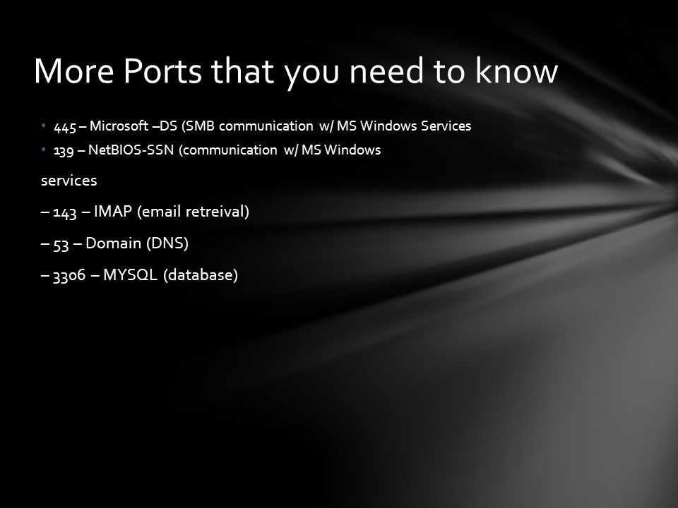 More Ports that you need to know