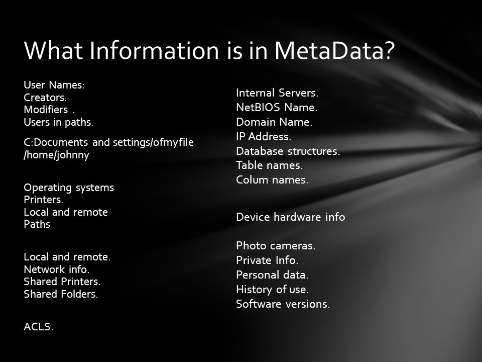 What Information is in MetaData