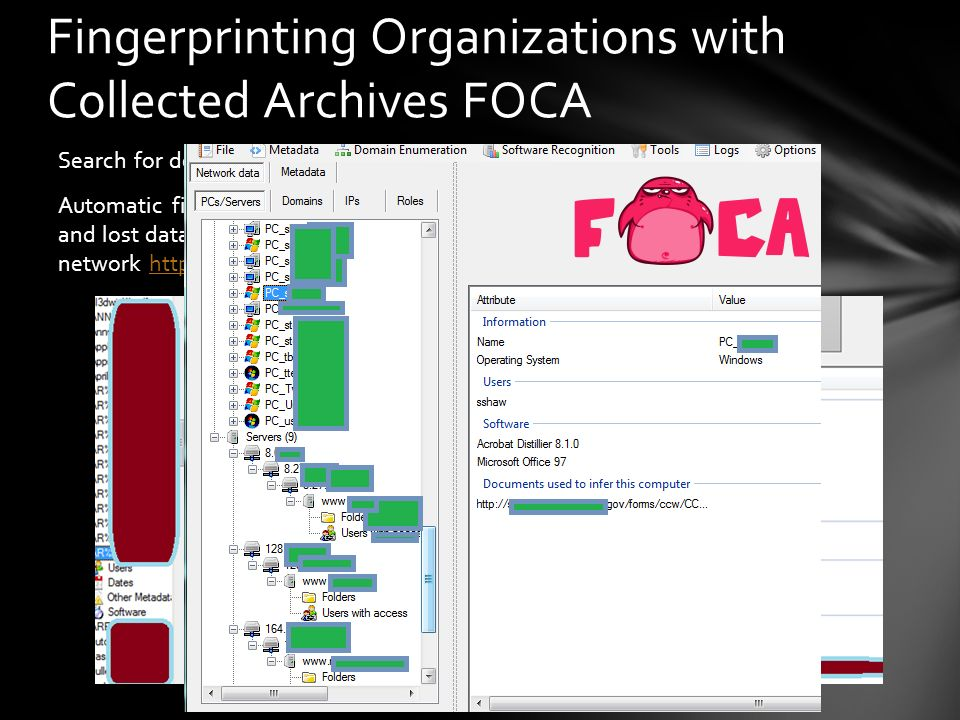 Fingerprinting Organizations with Collected Archives FOCA