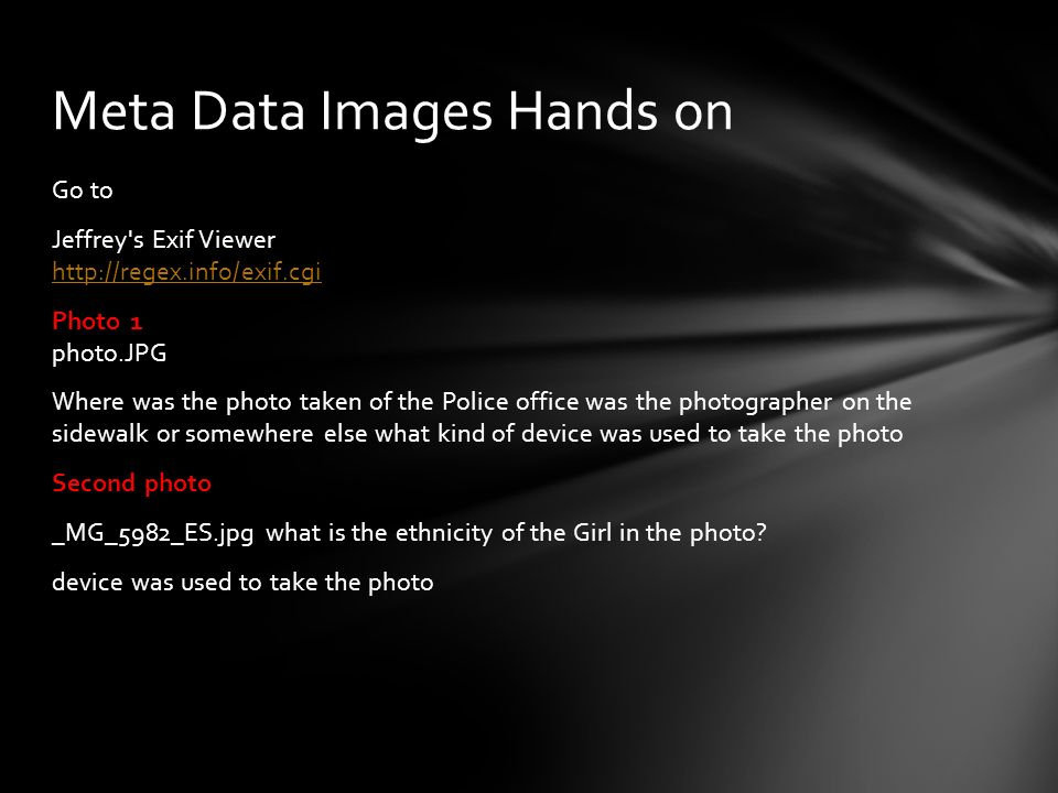 Meta Data Images Hands on