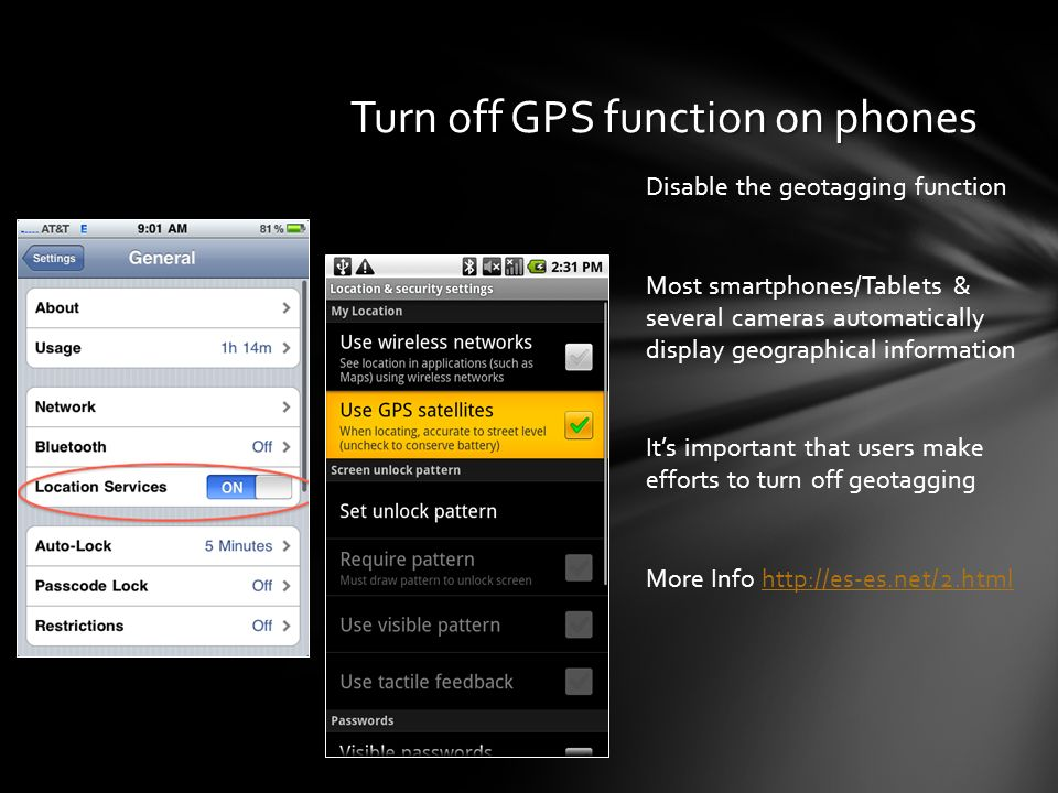 Turn off GPS function on phones