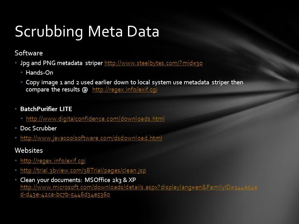 Scrubbing Meta Data Software Websites