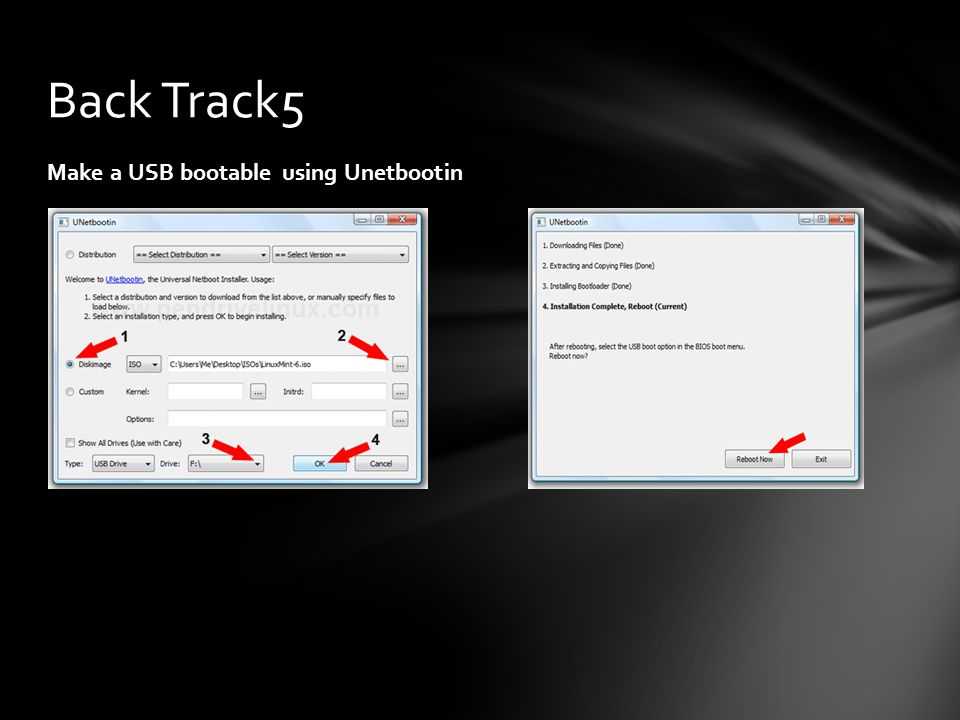 Back Track5 Make a USB bootable using Unetbootin