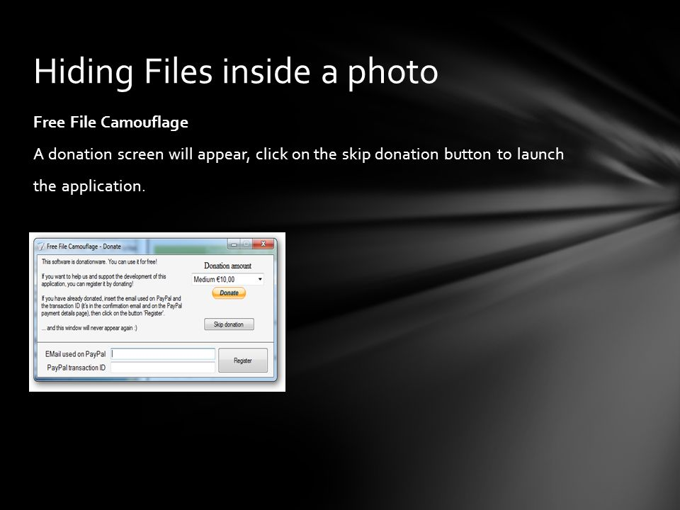 Hiding Files inside a photo
