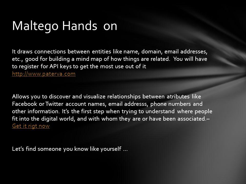 Maltego Hands on
