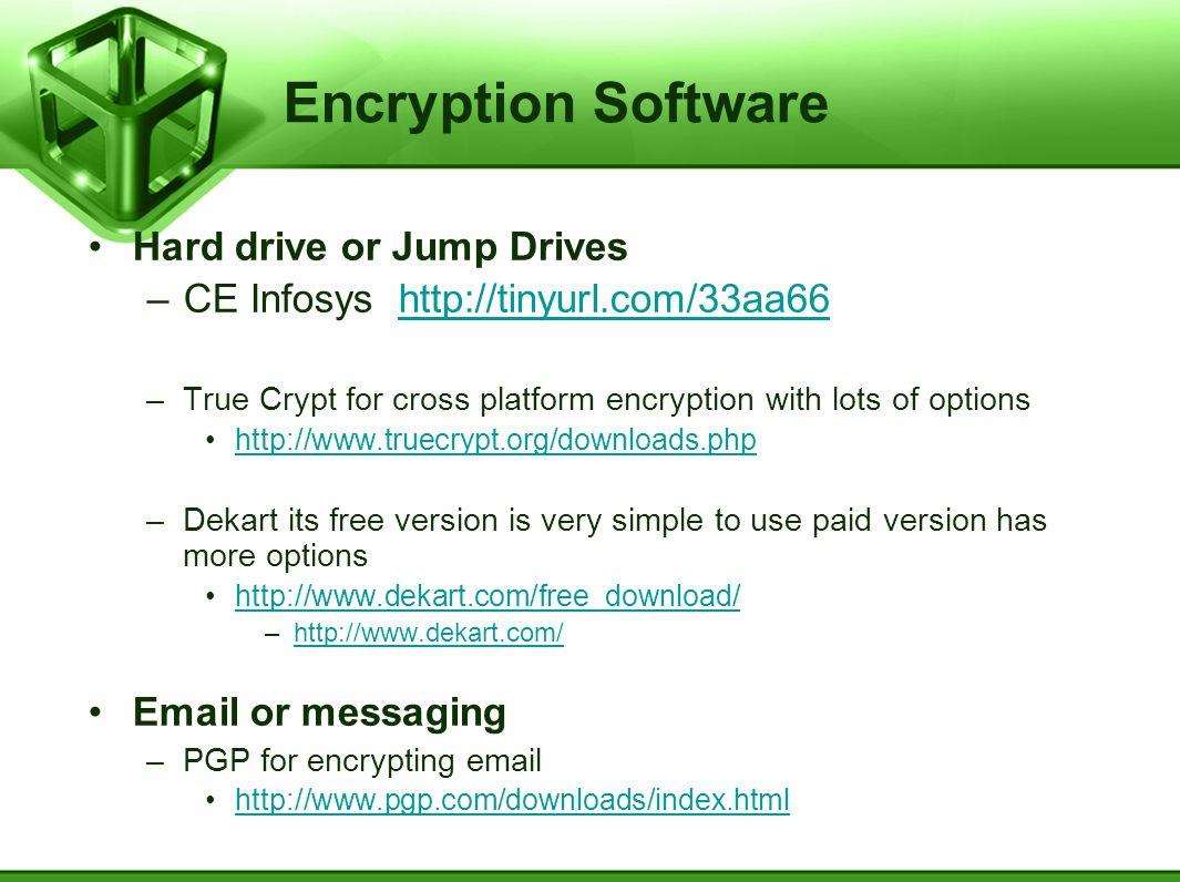 Encryption Software Hard drive or Jump Drives