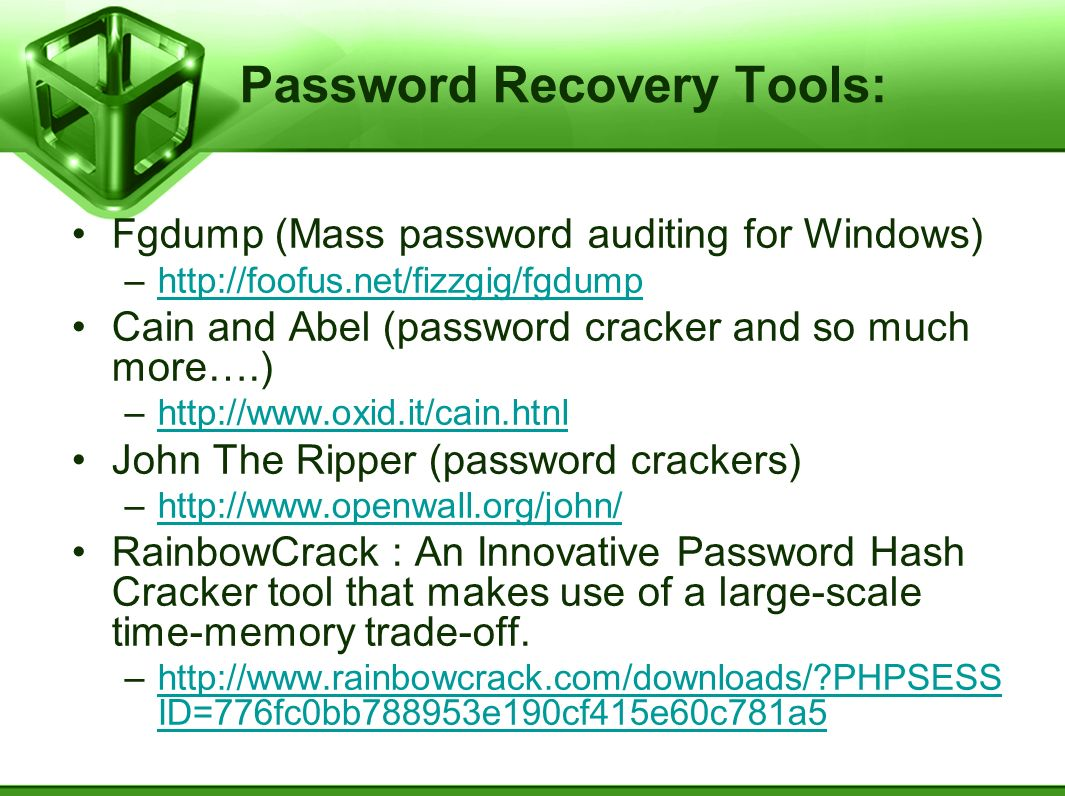 Password Recovery Tools: