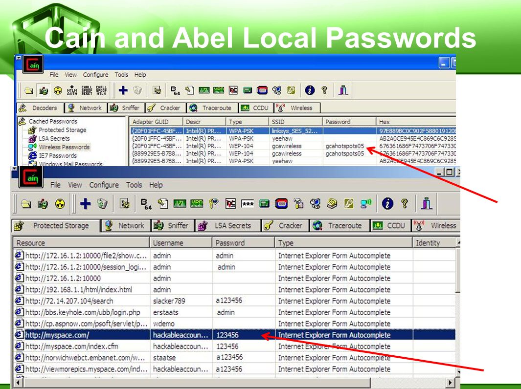 Cain and Abel Local Passwords