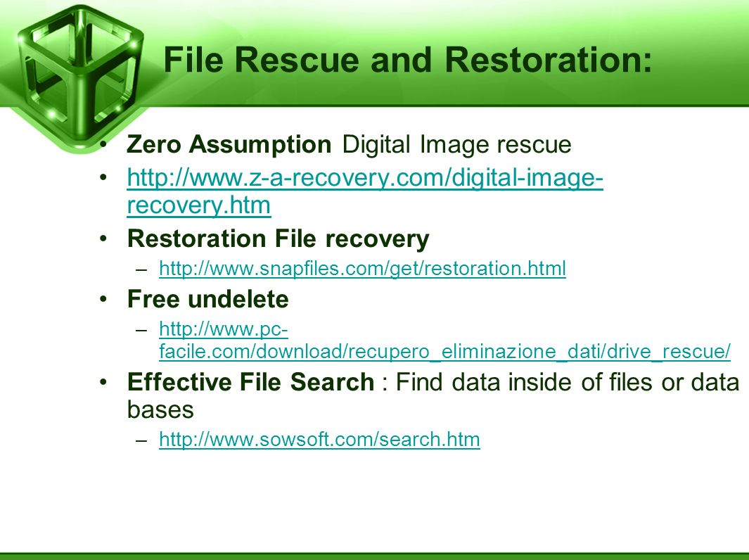 File Rescue and Restoration: