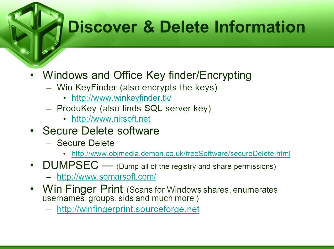 Discover & Delete Information