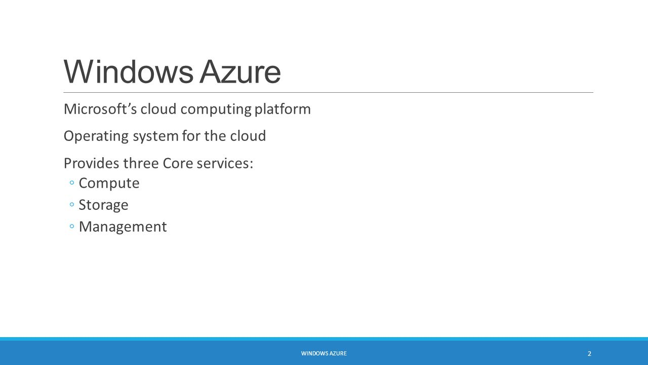 Microsoft azure cloud computing platform services - Windows Azure Microsoft S Cloud Computing Platform