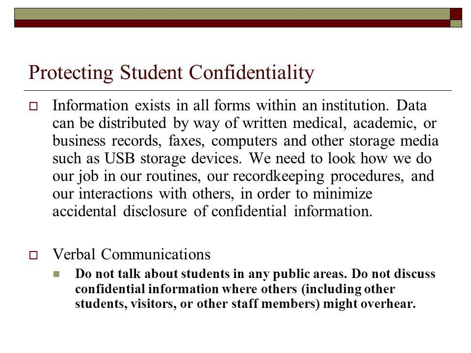 Protecting Student Confidentiality
