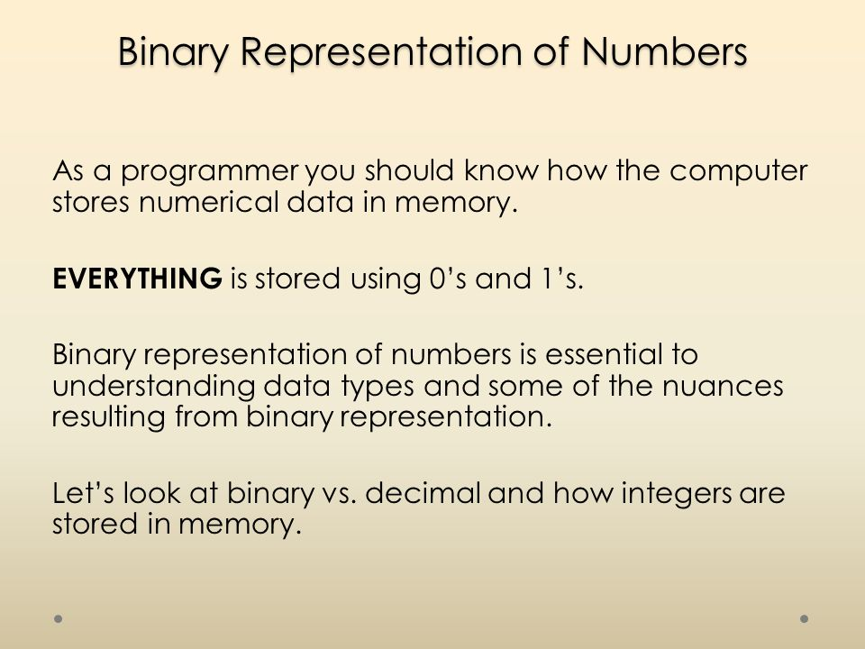 Binary Representation of Numbers