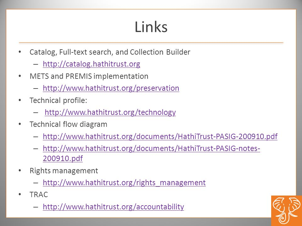 Links Catalog, Full-text search, and Collection Builder