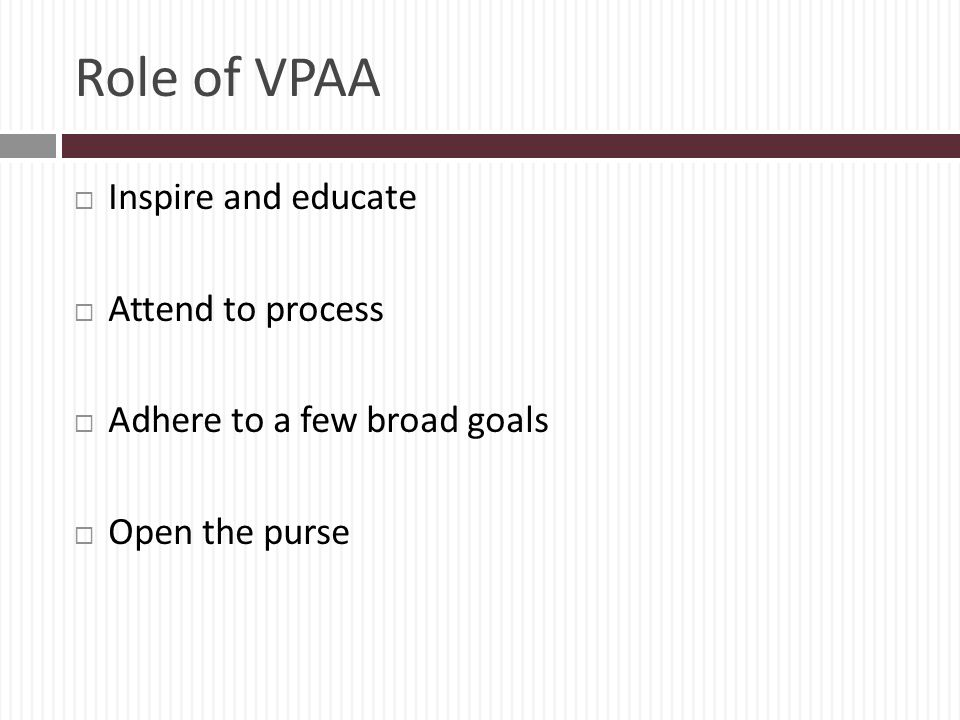 Role of VPAA Inspire and educate Attend to process