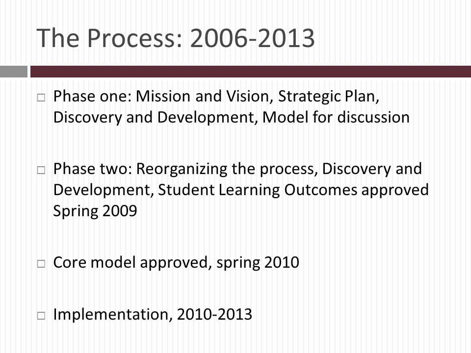The Process: 2006-2013 Phase one: Mission and Vision, Strategic Plan, Discovery and Development, Model for discussion.
