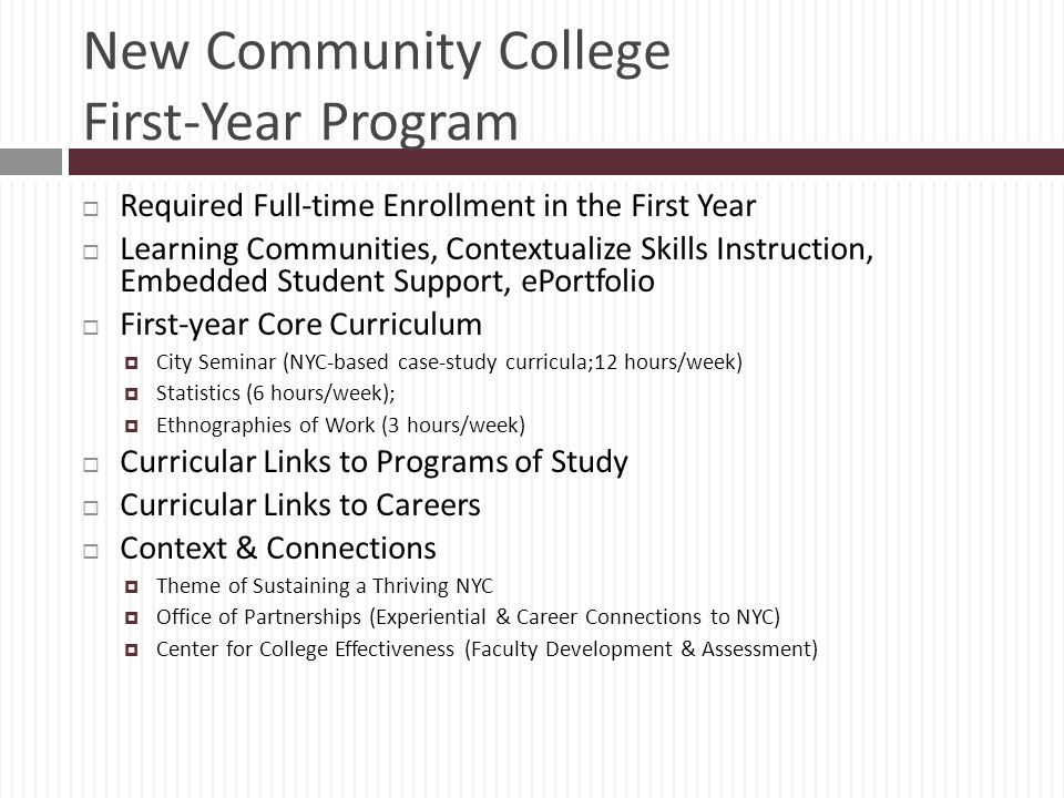 New Community College First-Year Program
