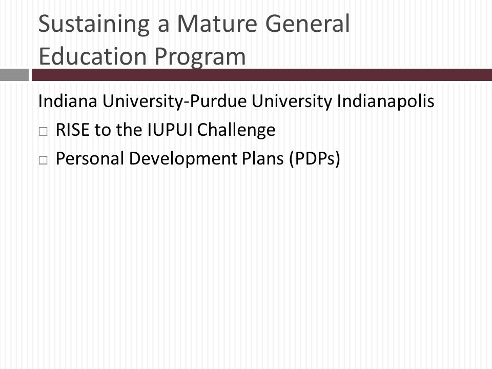 Sustaining a Mature General Education Program