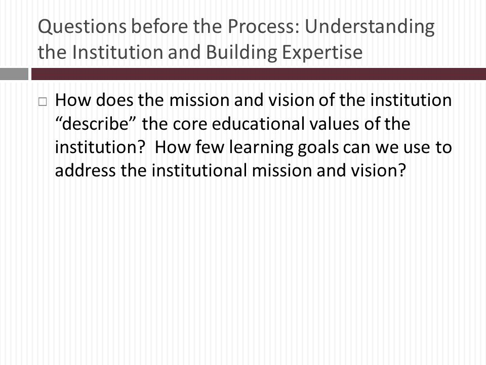 Questions before the Process: Understanding the Institution and Building Expertise