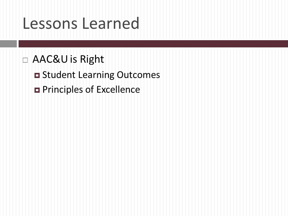 Lessons Learned AAC&U is Right Student Learning Outcomes