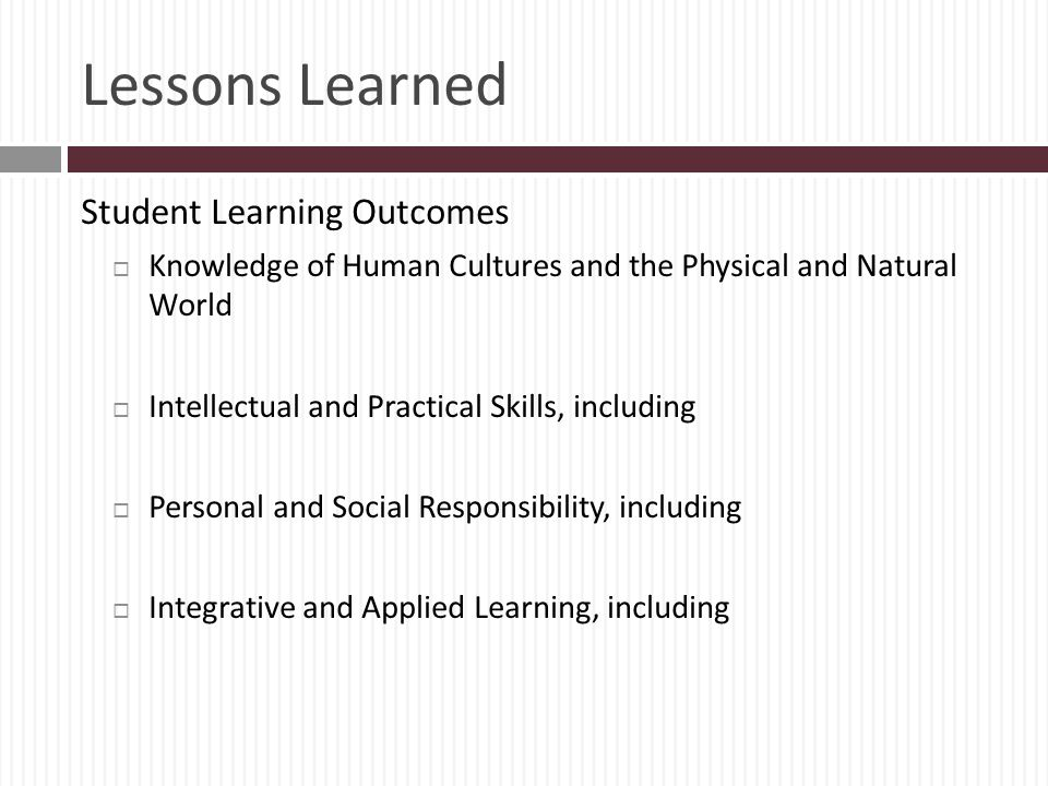 Lessons Learned Student Learning Outcomes