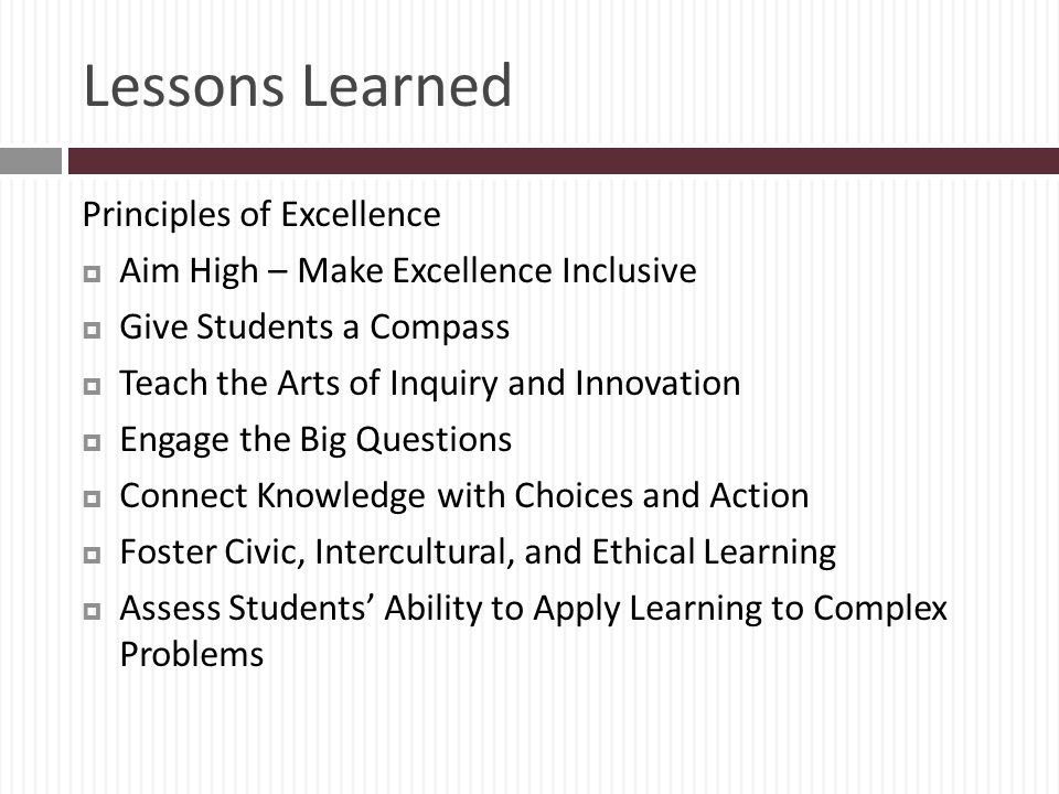 Lessons Learned Principles of Excellence